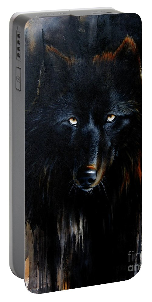 Wolf Portable Battery Charger featuring the painting Noir by Sandi Baker