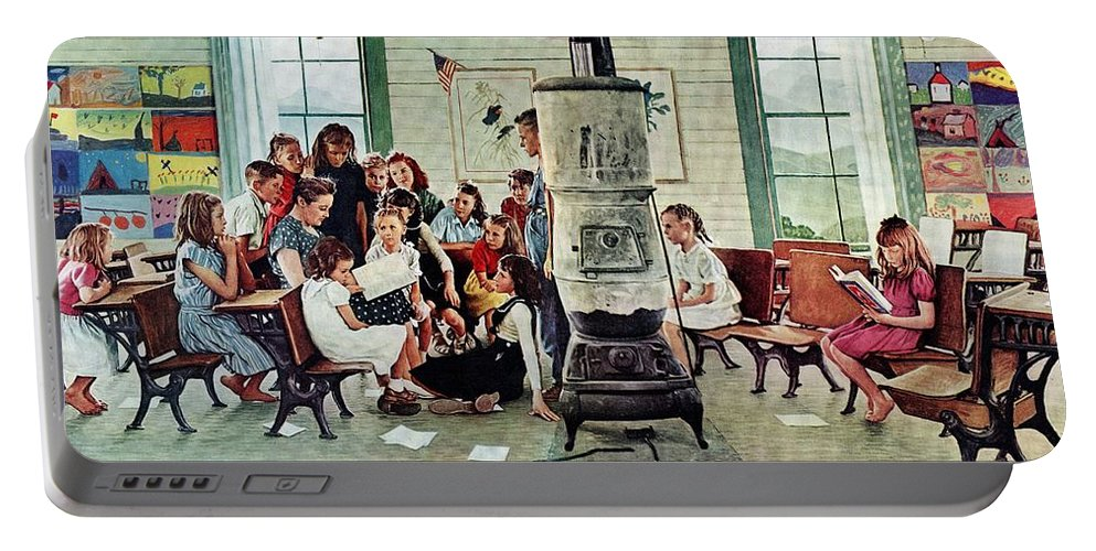 Book Portable Battery Charger featuring the drawing Norman Rockwell Visits A Country School by Norman Rockwell