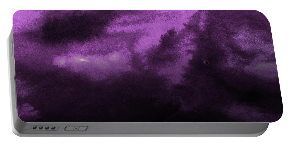 Landscape Portable Battery Charger featuring the painting Ocean And Purple Sky Watercolor II by Naxart Studio
