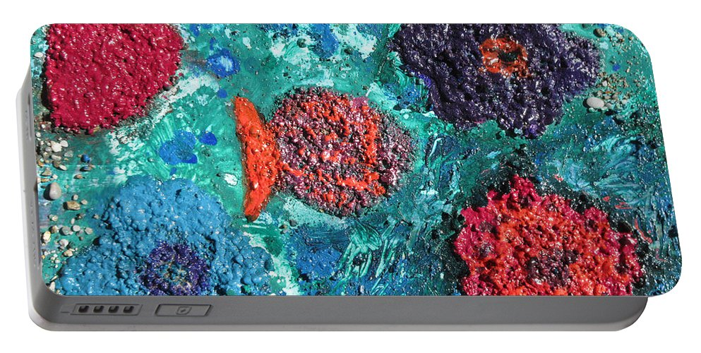 Ocean Emotion Portable Battery Charger featuring the painting Ocean Emotion - Pintoresco Art By Sylvia by Sylvia Pintoresco