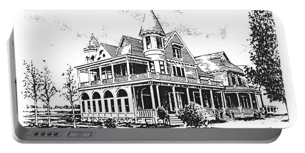 Old Daly Mansion Portable Battery Charger featuring the drawing Old Daly Mansion Hamilton Montana by Kevin Heaney