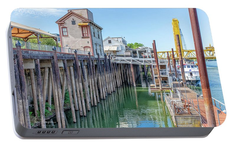 Old Town Sacramento Portable Battery Charger featuring the photograph Old Sacramento Waterfront by Jim Thompson