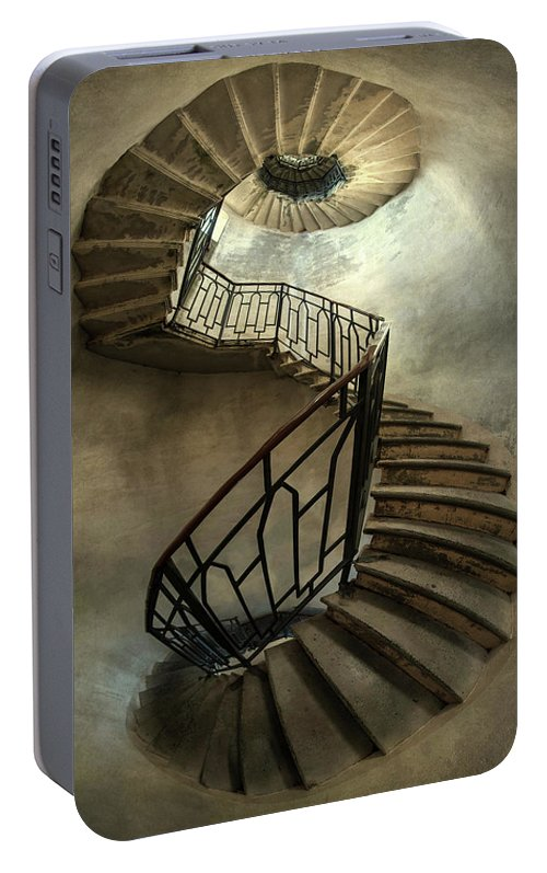 Staircase Portable Battery Charger featuring the photograph An Old Staircase by Jaroslaw Blaminsky