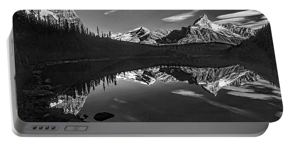 Mountains Portable Battery Charger featuring the photograph On The Trail Bw by Steve Harrington