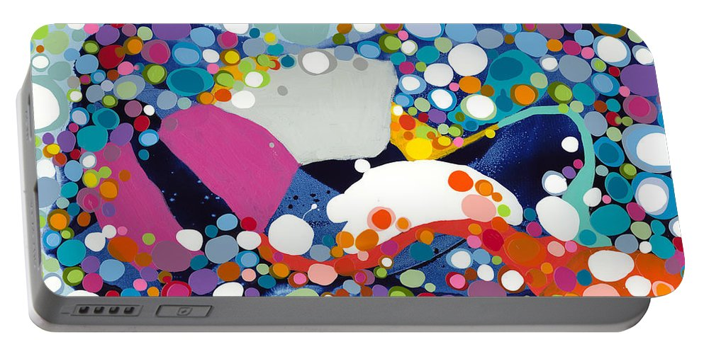 Abstract Portable Battery Charger featuring the painting On The Up And Up by Claire Desjardins