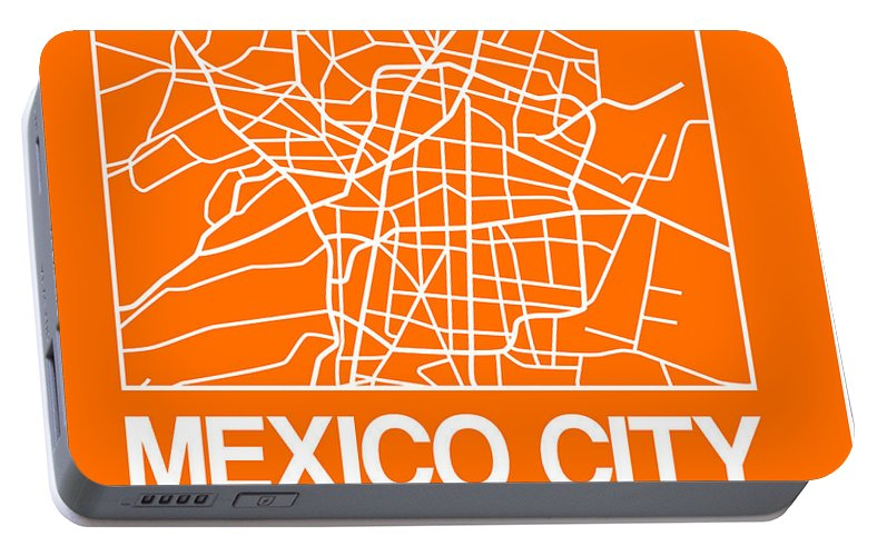Mexico City Portable Battery Charger featuring the digital art Orange Map Of Mexico City by Naxart Studio
