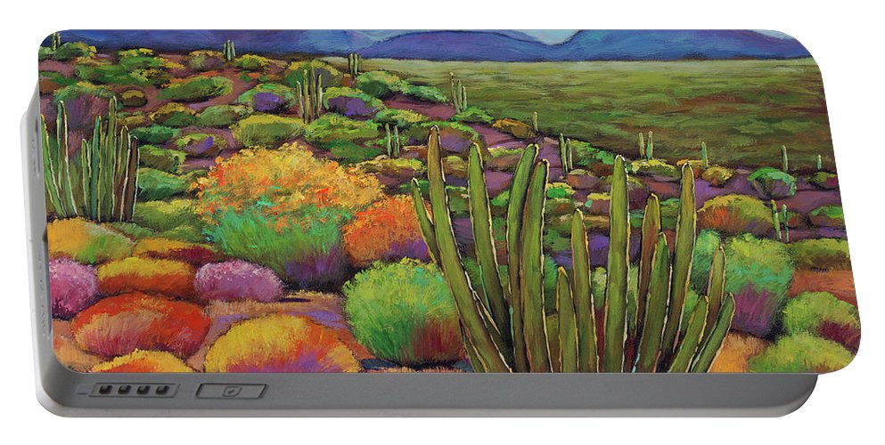 Desert Landscape Portable Battery Charger featuring the painting Organ Pipe by Johnathan Harris