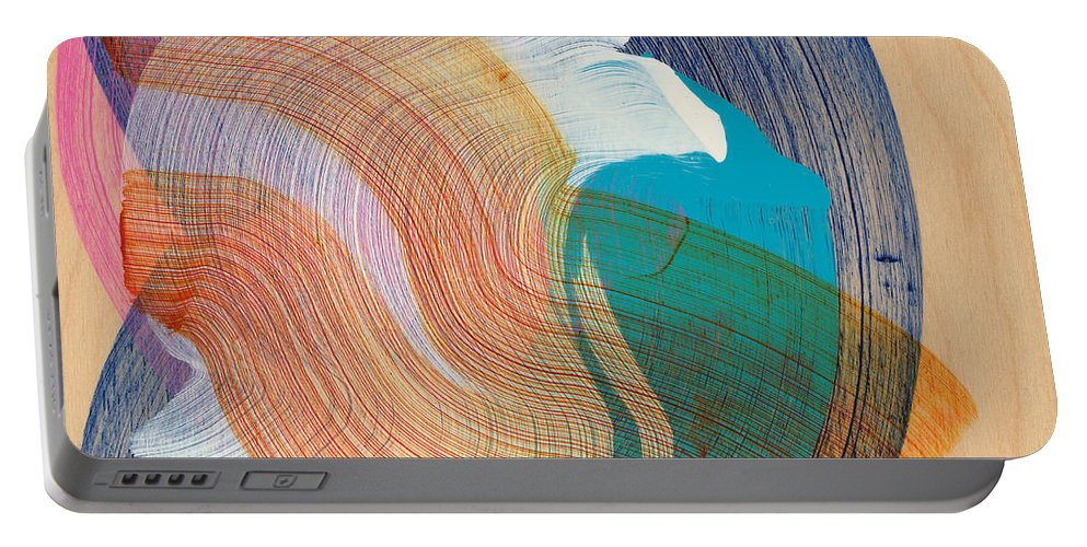 Abstract Portable Battery Charger featuring the painting Out Of The Blue 07 by Claire Desjardins