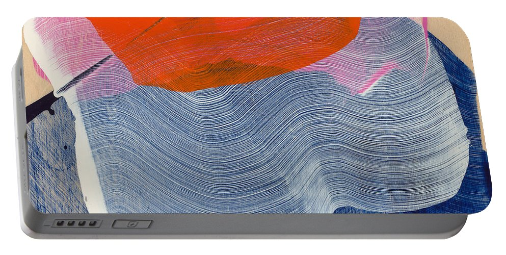 Abstract Portable Battery Charger featuring the painting Out Of The Blue 08 by Claire Desjardins