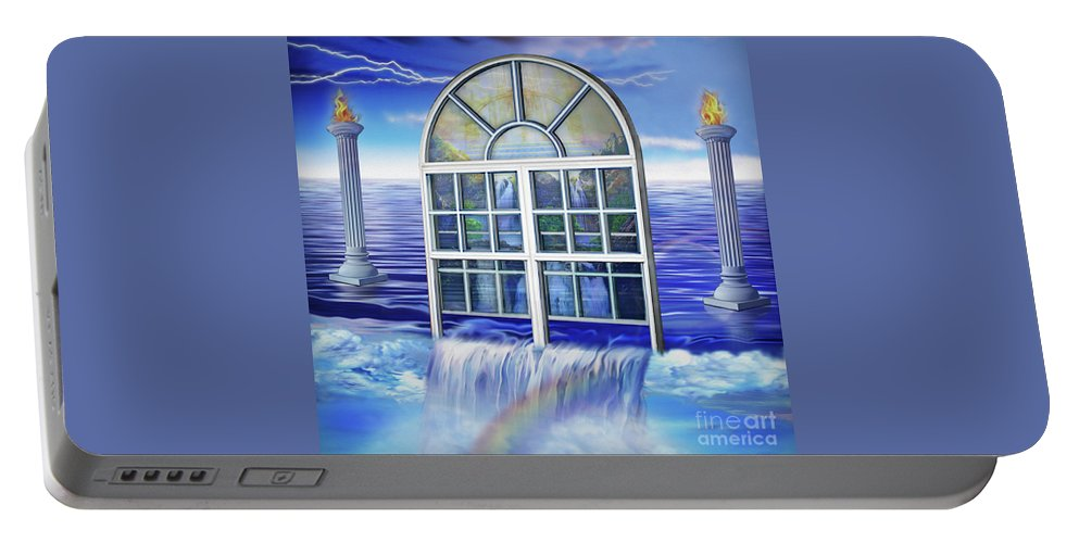 Outpouring Portable Battery Charger featuring the painting Outpouring by Todd L Thomas