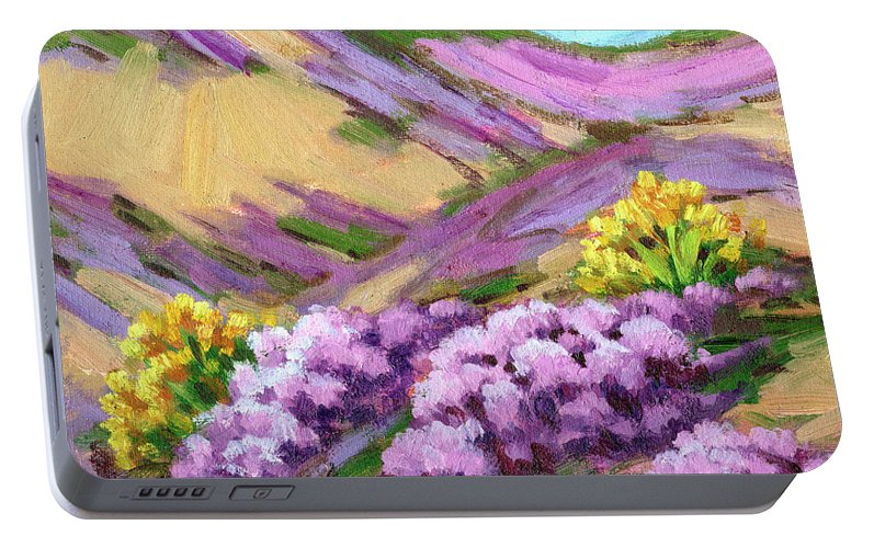 Palm Desert Portable Battery Charger featuring the painting Palm Desert Spring by Diane McClary