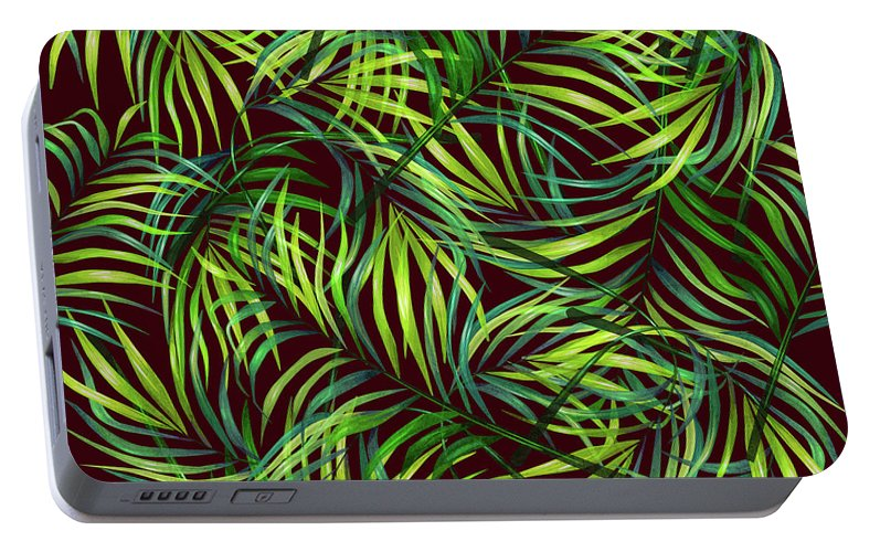 Palm Portable Battery Charger featuring the mixed media Palm Leaf Pattern 2 - Tropical Leaf Pattern - Green, Black - Tropical, Botanical Pattern Design by Studio Grafiikka