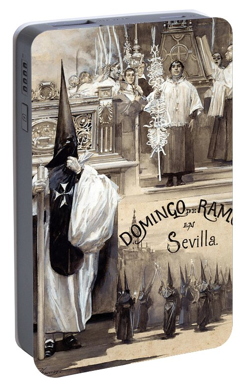 Jose Garcia Ramos Portable Battery Charger featuring the painting Palm Sunday In Seville by Jose Garcia Ramos