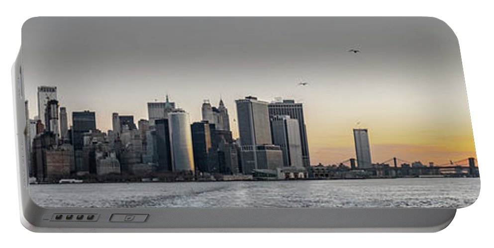 America Portable Battery Charger featuring the photograph Panoramic View Of Manhattan Island And The Brooklyn Bridge At Su by PorqueNo Studios