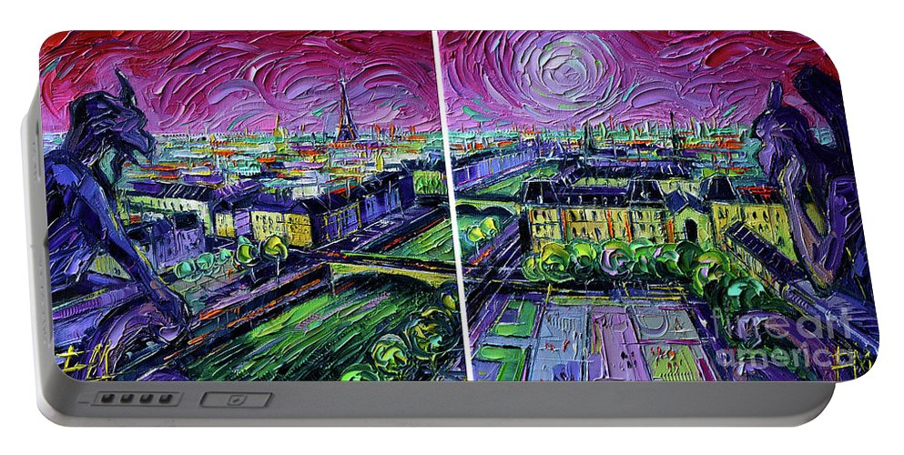 Paris Gargoyle Portable Battery Charger featuring the painting Paris View With Gargoyles - Textural Impressionist Diptych Oil Painting Mona Edulesco  by Mona Edulesco