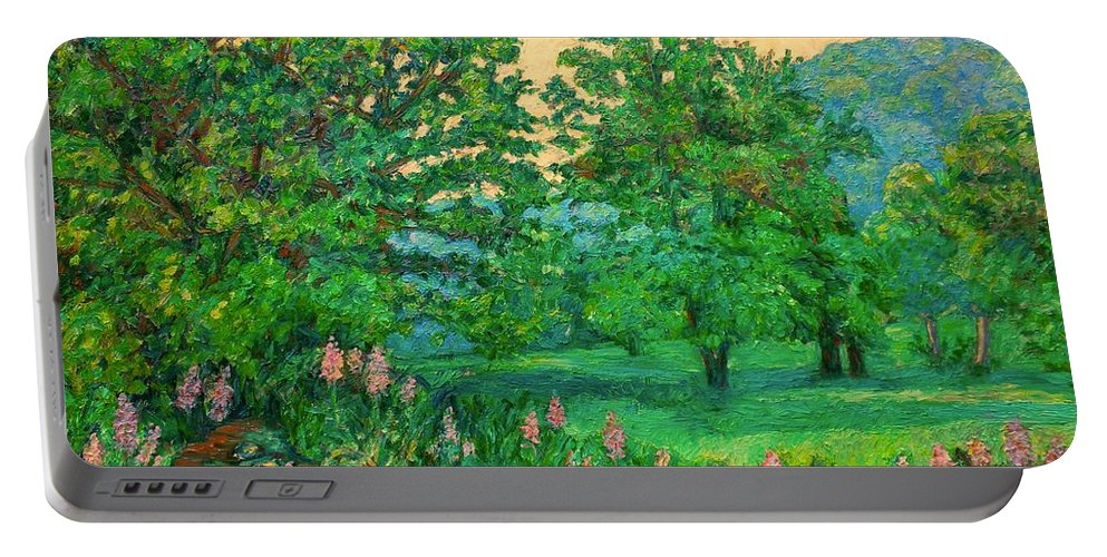 Landscape Portable Battery Charger featuring the painting Park Road In Radford by Kendall Kessler