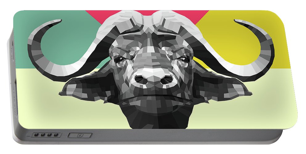Buffalo Portable Battery Charger featuring the digital art Party Buffalo by Naxart Studio