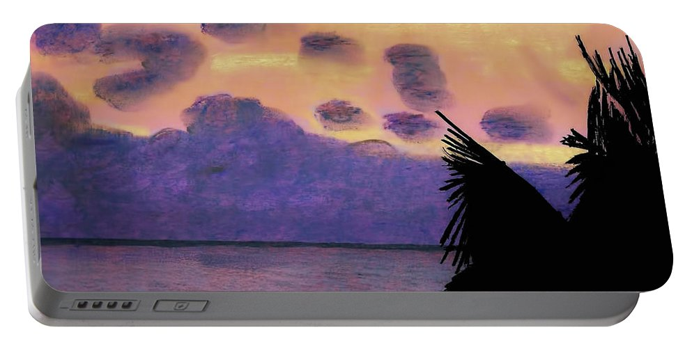 Sunrise Portable Battery Charger featuring the drawing Pastel Palm Tree Sunrise by D Hackett