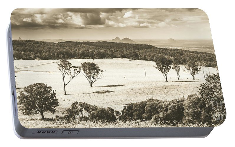 Sepia Portable Battery Charger featuring the photograph Pastoral Plains by Jorgo Photography - Wall Art Gallery