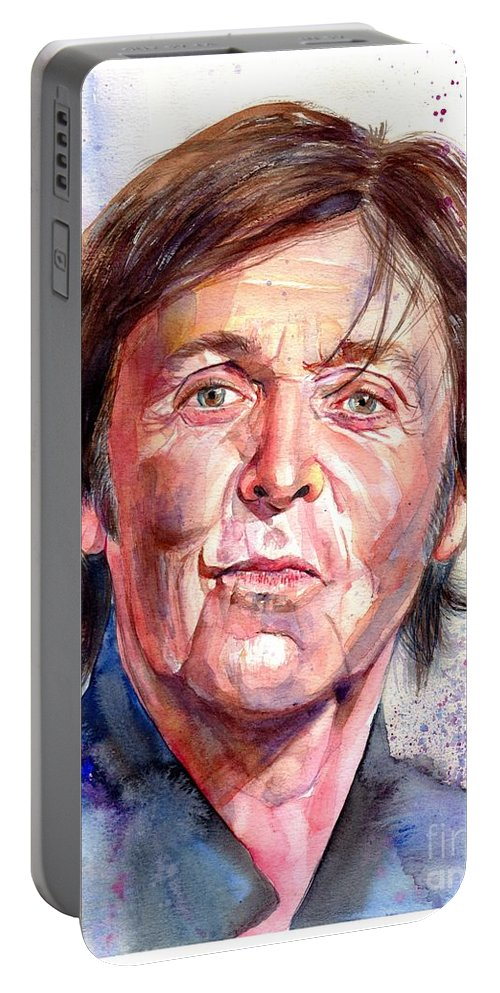 Paul Portable Battery Charger featuring the painting Paul McCartney Watercolor by Suzann Sines