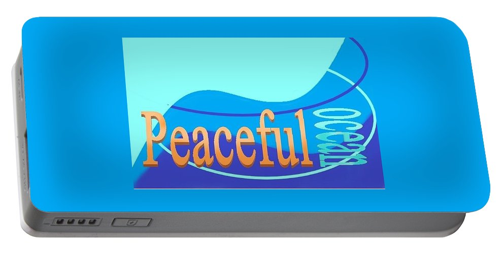 Portable Battery Charger featuring the digital art Peaceful Ocean by Andrew Johnson