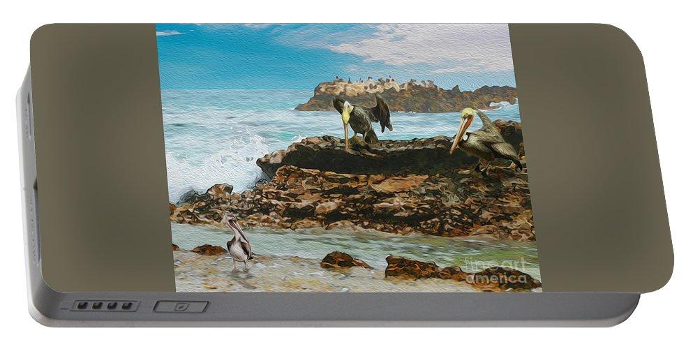 Pelicans At Laguna Beach Portable Battery Charger featuring the painting Pelicans At Laguna Beach 3 by Todd L Thomas