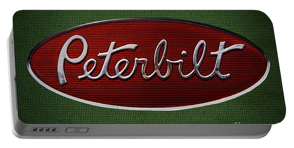 Peterbilt Portable Battery Charger featuring the photograph Peterbilt Emblem Green 5 Pattern by Nick Gray