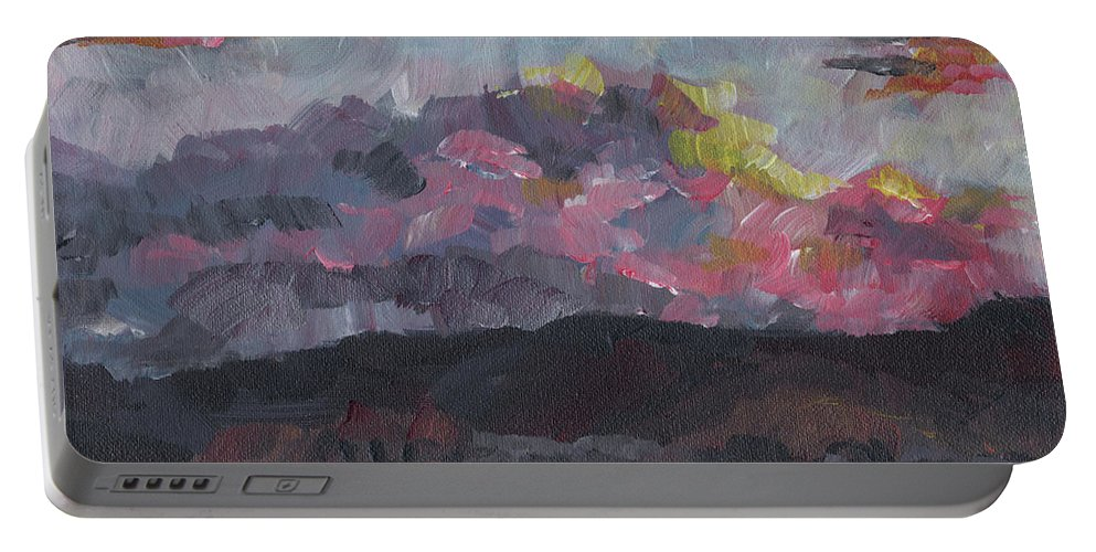 Impressionist Portable Battery Charger featuring the painting Pink Sky Delight by Susan Moore