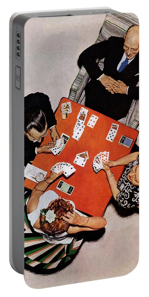 Bridge Portable Battery Charger featuring the drawing Playing Cards by Norman Rockwell