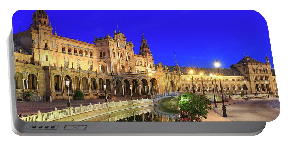 Andalucia Portable Battery Charger featuring the photograph Plaza De Espana At Night Seville Andalusia Spain by Ivan Pendjakov