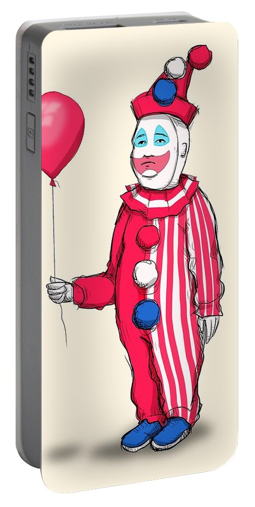 John Wayne Gacy Portable Battery Charger featuring the drawing Pogo Hill by Ludwig Van Bacon