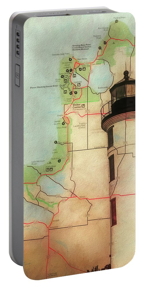 Point Betsie Lighthouse Map Portable Battery Charger featuring the mixed media Point Betsie Lighthouse Map by Dan Sproul