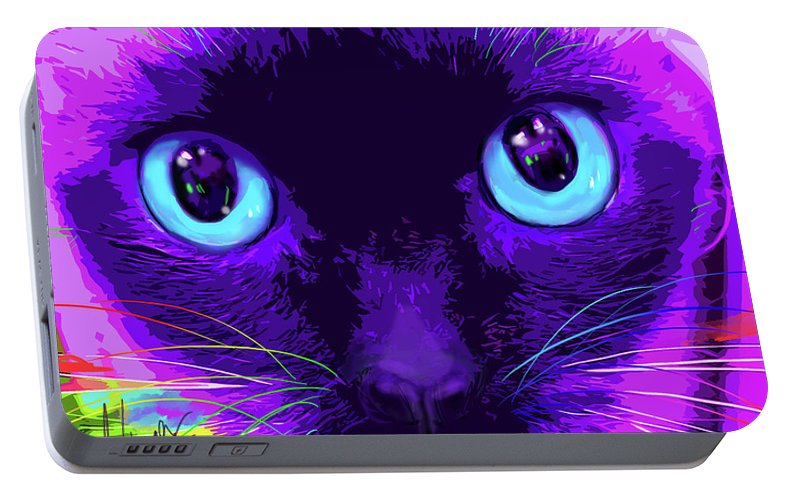 Bubble Portable Battery Charger featuring the painting pOpCat Bubble by DC Langer