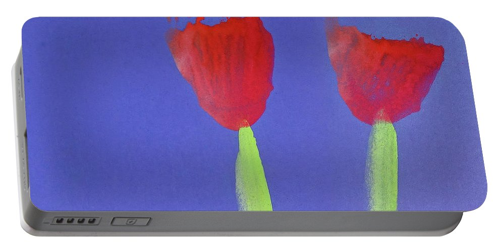 Poppies Portable Battery Charger featuring the painting Poppies by Charles Stuart