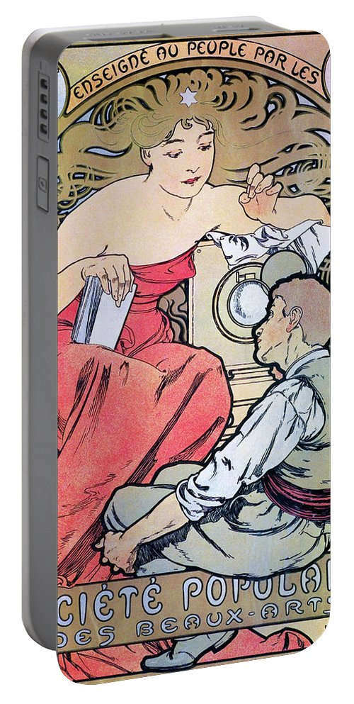 Alfons Maria Mucha Portable Battery Charger featuring the painting Popular Art Association - Digital Remastered Edition by Alfons Maria Mucha
