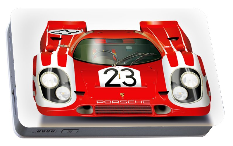 1970 Porsche 917. First Porsche To Win Le Mans 24 Hours Portable Battery Charger featuring the drawing Porsche 917 Le Mans 1970 Winner by Alain Jamar