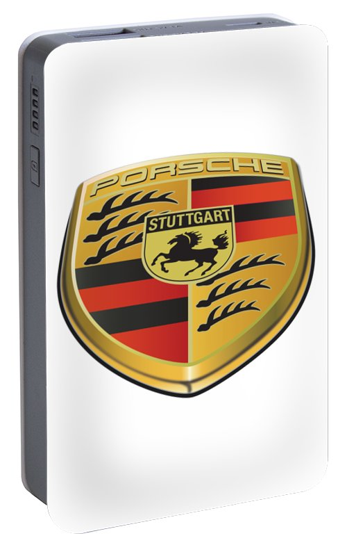Porsche Logo No Background Portable Battery Charger featuring the drawing Porsche Logo Illustration No Background by Alain Jamar