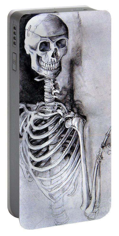 Skeleton Portable Battery Charger featuring the pastel Portrait Of A Skeleton by Linda Shackelford