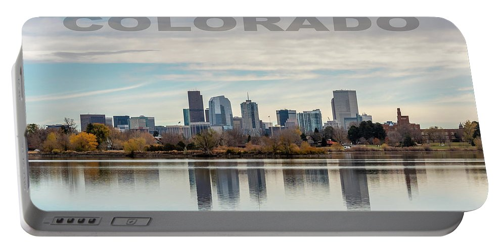 Reflection Portable Battery Charger featuring the photograph Poster Of Downtown Denver At Dusk Reflected On Water by PorqueNo Studios
