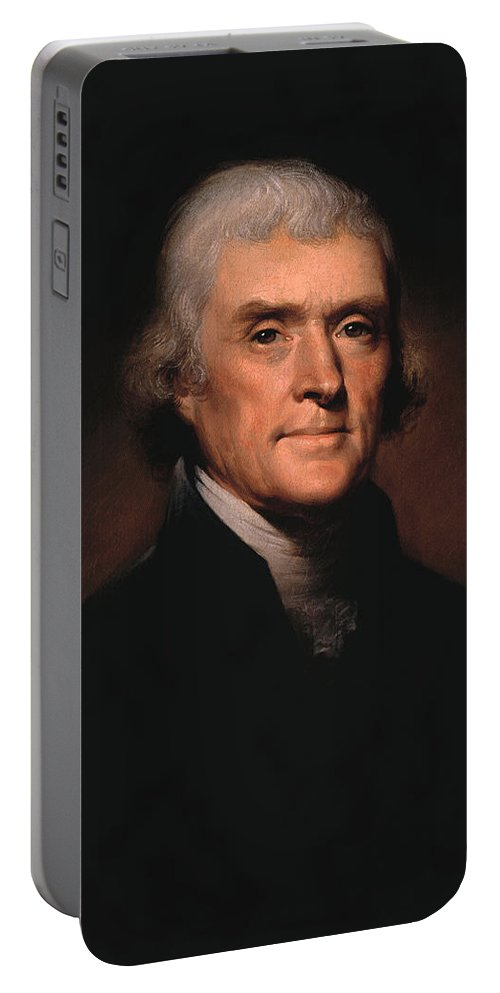 Thomas Jefferson Portable Battery Charger featuring the painting President Thomas Jefferson by War Is Hell Store
