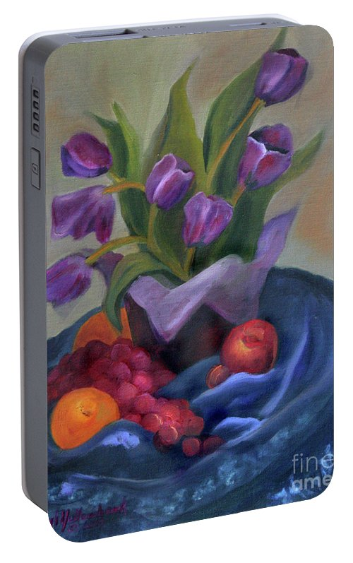 Still Life Portable Battery Charger featuring the pastel Purple Tulips On Blue Fabic by Cheryl Yellowhawk
