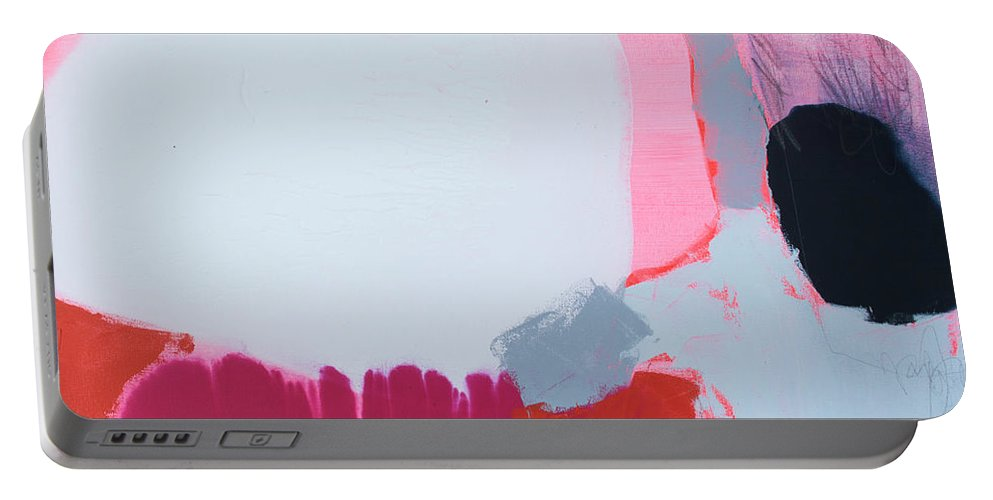 Abstract Portable Battery Charger featuring the painting Pussycats in Pussy Hats by Claire Desjardins