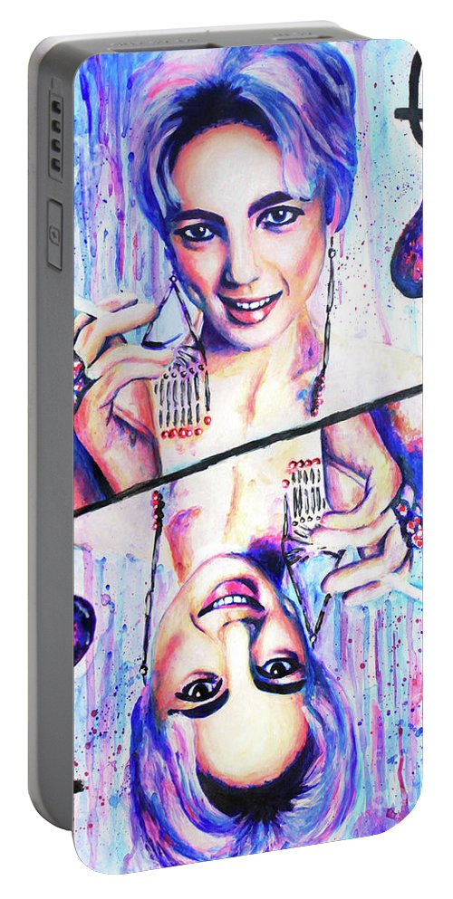 Acrylic Painting Portable Battery Charger featuring the painting Queen Of Spades by Olesya Umantsiva