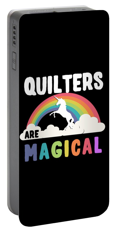 Unicorn Portable Battery Charger featuring the digital art Quilters Are Magical by Flippin Sweet Gear