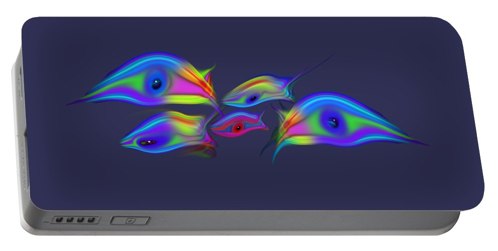 Rainbow Fish Portable Battery Charger featuring the digital art Rainbow Blue Fish by Charles Stuart