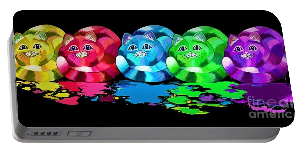 Cats Portable Battery Charger featuring the digital art Rainbow Painted Cats by Nick Gustafson