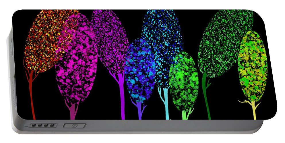 Colorful Portable Battery Charger featuring the painting Rainbow Trees At Night by Patricia Piotrak