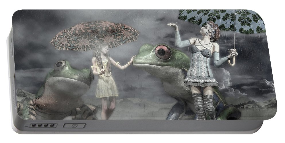 Frog Portable Battery Charger featuring the digital art Rainy Day Daydream by Betsy Knapp