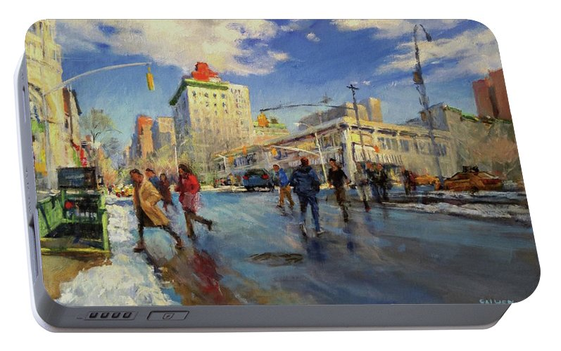 Subway Portable Battery Charger featuring the painting Rapid Transit by Peter Salwen