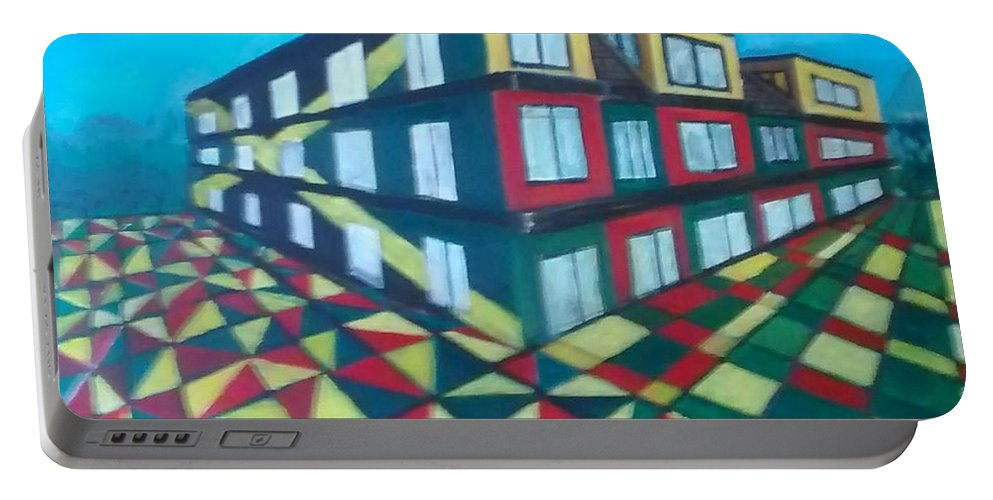 Rasta Art Portable Battery Charger featuring the painting Rasta Academy by Andrew Johnson